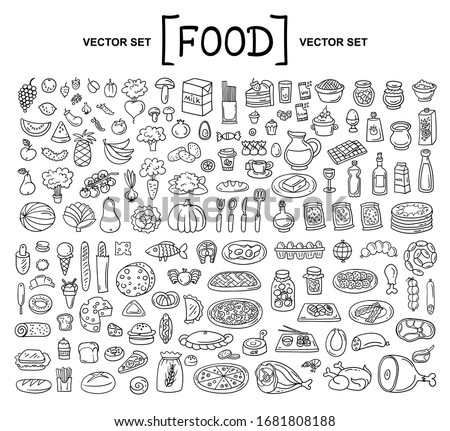 Vector cartoon set on the theme of food. Isolated doodles of fruits, vegetables, bakery products, meat, sausage, grocery on white background. Hand drawn elements stock photo