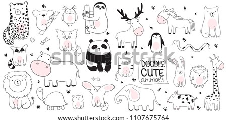 Vector cartoon sketch illustration with cute doodle animals. Perfect for postcard, birthday, baby book, children room. Panda, koala, sloth, leopard, hippo, raccoon, giraffe, bear, lion