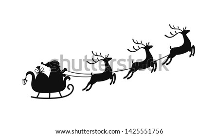 Vector cartoon sleigh with bag of gifts and reindeers, sled of Santa Claus. Christmas element with cute deers.