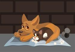 Vector cartoon small afraid puppy and sad kitten homeless hungry pets