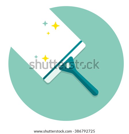 vector cartoon squeegee, scraper, wiper / for cleaning windows, floor, bathroom / shiny / flat, icon template, circle, isolated / green on white
