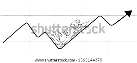 Vector cartoon stick figure drawing conceptual illustration of businessmen riding on the financial graph or chart on roller-coaster or big dipper. Market instability and changes concept.