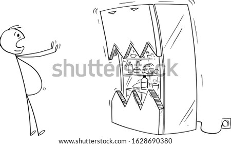 Vector cartoon stick figure drawing conceptual illustration of fat or obese or overweight man scared by his fridge or refrigerator. Foto stock ©