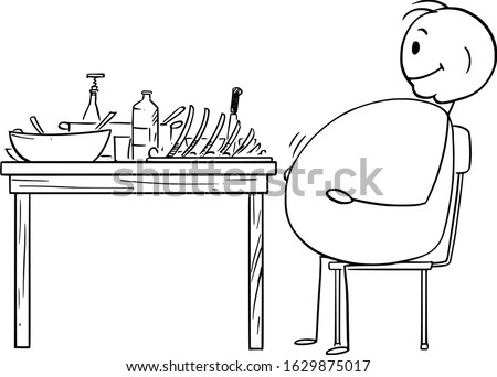 Vector cartoon stick figure drawing conceptual illustration of fat or obese or overweight man sitting satisfied behind table after dinner.Healthy lifestyle concept. Foto stock ©