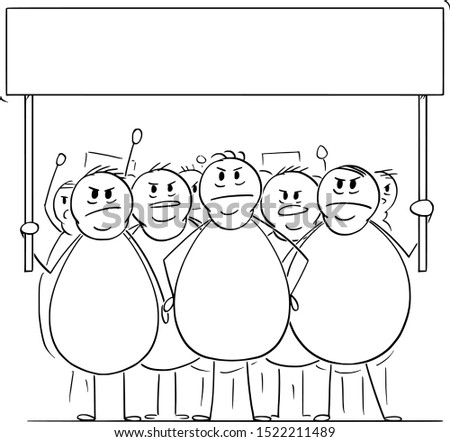Vector cartoon stick figure drawing conceptual illustration of group of angry overweight or fat men or people on demonstration demonstrating with empty sign. Concept of health, consumerism and sustain