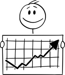 Vector cartoon stick figure drawing conceptual illustration of happy smiling man or businessman holding growing or rising financial chart or graph.