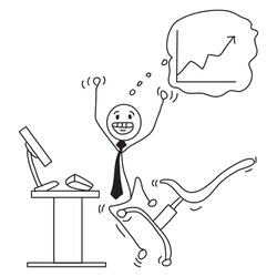 Vector cartoon stick figure drawing conceptual illustration of happy smiling man or businessman with growing or rising financial chart or graph.