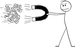 Vector cartoon stick figure drawing conceptual illustration of man or businessman holding big magnet attracting money.
