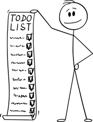 Vector cartoon stick figure drawing conceptual illustration of man or businessman holding todo, to-do list or checklist with checking of compete tasks.