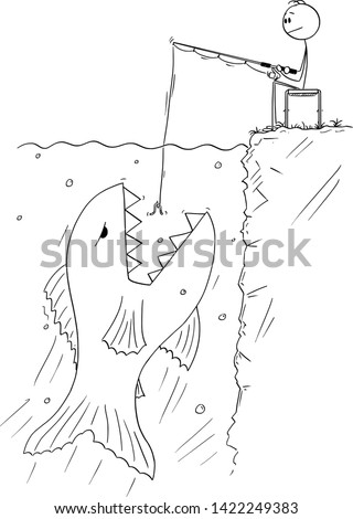 Vector cartoon stick figure drawing conceptual illustration of man sitting calmly near water, and angling or fishing while giant and dangerous fish is floating to eat the bait.