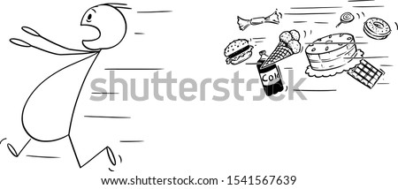 Vector cartoon stick figure drawing conceptual illustration of obese and fat man running away chased by unhealthy junk food. Concept of healthy lifestyle. Foto stock ©