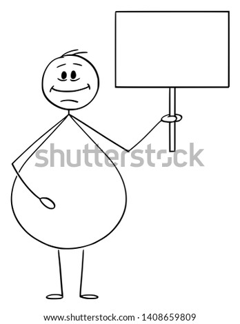 Vector cartoon stick figure drawing conceptual illustration of smiling overweight or obese man holding empty sign ready for your text. Foto stock ©