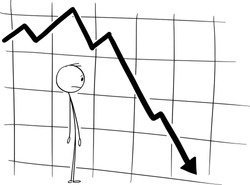 Vector cartoon stick figure drawing conceptual illustration of stock market investor or businessman watching falling financial graph. Concept of depression, recession and crisis.