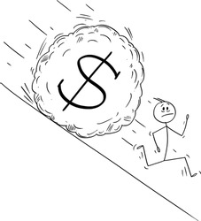 Vector cartoon stick figure drawing conceptual illustration of stressed man or businessman running away from boulder rolling down hill. Financial concept of falling dollar currency.