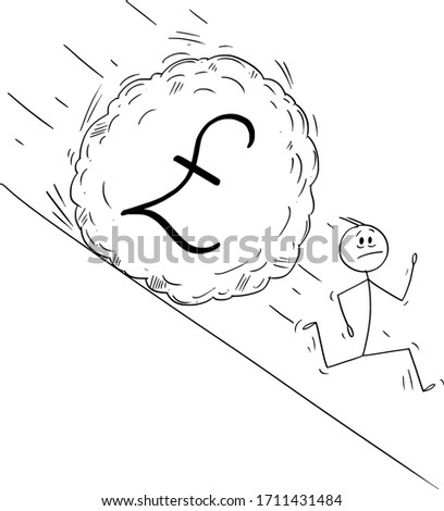 Vector cartoon stick figure drawing conceptual illustration of stressed man or businessman running away from boulder rolling down hill. Financial concept of falling pound sterling or gbp currency.