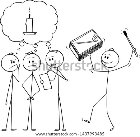 Vector cartoon stick figure drawing conceptual illustration of team of businessmen brainstorming brainstorming and looking for idea. Another man is bringing box of matches and metaphor of idea.