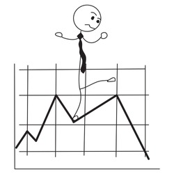 Vector cartoon stick figure drawing conceptual illustration of unhappy man or businessman with falling financial chart or graph.