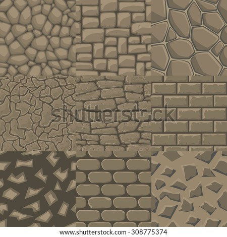 vector cartoon stone wall