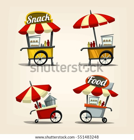 vector cartoon street food cart template with the fastfood and stuffs for illustration and icon