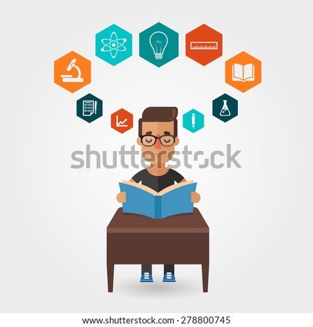 Vector Cartoon Student Reading Book