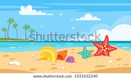 Vector cartoon style background of sea shore with colorful seashells. Good sunny day.