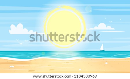 Vector cartoon style background of tropical island paradise sea shore. Good sunny day.