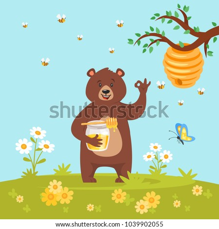 Vector cartoon style bear character eating sweet honey showing a okay hand sign. Ok gesture. Nature background with bee hive, flowers and butterfly.
