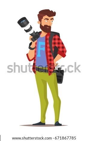 Vector cartoon style character of photographer. Isolated on white background.