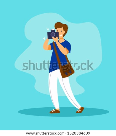 Vector cartoon style character of photographer. Young man taking photo with digital camera. Journalist or reporter making pictures.