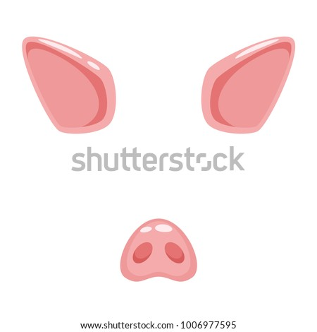 Vector cartoon style cute pig animal face element or carnival mask. Decoration item for your selfie photo and video chat filter. Ears, nose and horn. Isolated on white background.