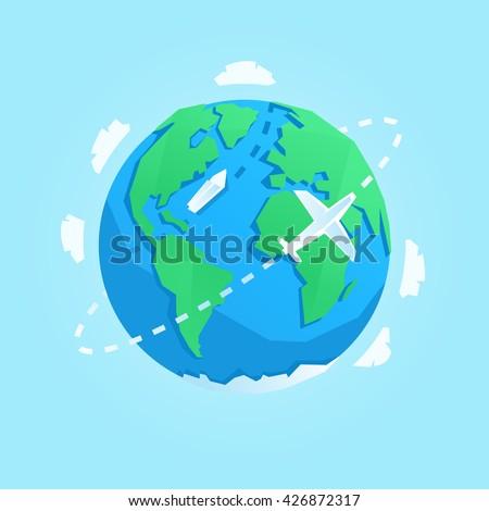vector cartoon style earth