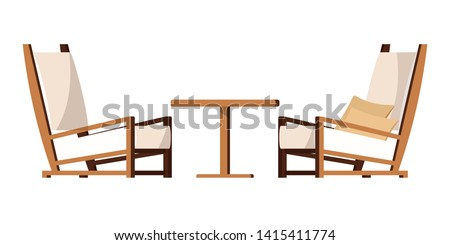 Vector cartoon style flat design porch zone furniture illustration. Clip art image: cozy garden yard, living room furniture  - two armchairs with cushions, coffee table isolated on white background.