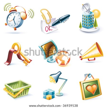 Vector cartoon style icon set. Part 9 - stock vector