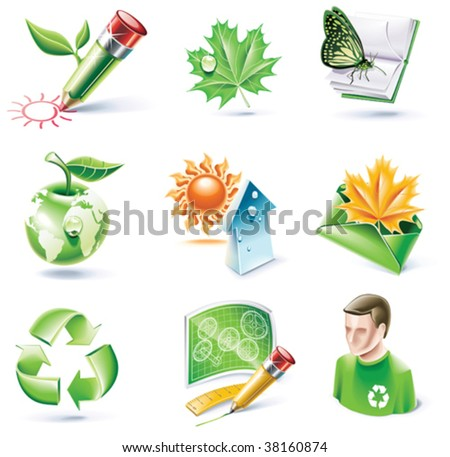 Vector cartoon style icon set. Part 18. Ecology
