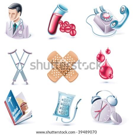 Vector cartoon style icon set. Part 28. Medicine