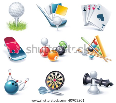 Vector cartoon style icon set. Part 36. Sport
