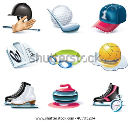 Vector cartoon style icon set. Part 37. Sport - stock vector
