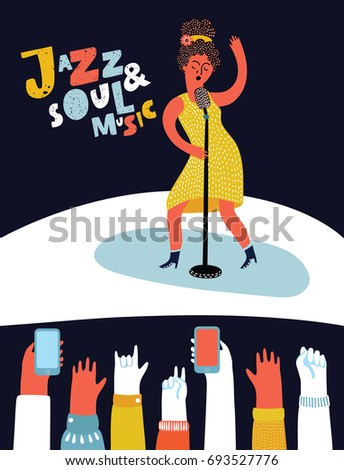 Vector cartoon style illustration of Afro woman star celebrity jazz singer in yellow dress with vintage microphone and fans up their hands. Take photo of show on smarphone. Jazz and soul music