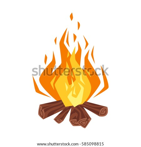 Vector cartoon style illustration of bonfire. Icon for web. Isolated on white background.