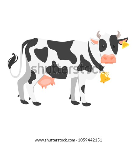 Vector cartoon style illustration of  farm animal - cow. Isolated on white background.