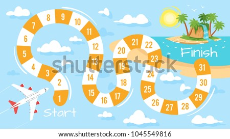 Vector cartoon style illustration of kids travel and tourism board game template. For print. Horizontal composition with airplane flying to the tropic island.