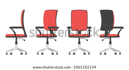 Vector cartoon style illustration of office chair from different point of view. Isolated on white background.