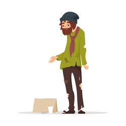 Vector cartoon style illustration of poor man in torn clothes begging money. Isolated on white background.