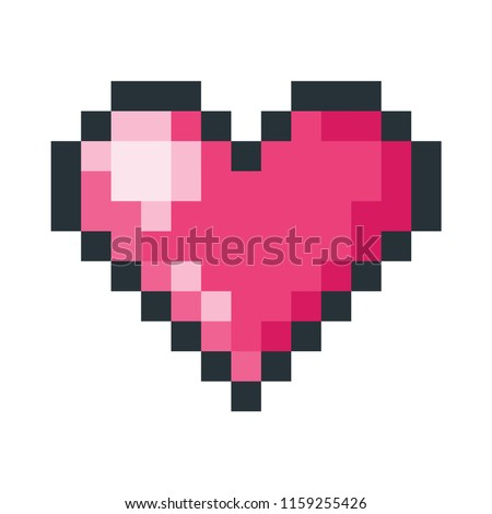 Vector cartoon style illustration of red heart pixel art icon. Isolated on white background.