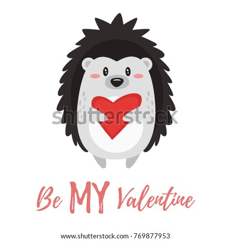 Vector cartoon style illustration of Valentine's day romantic gift card with cute hedgehog holding heart in his hands. Be My Valentine text.