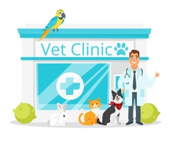Vector cartoon style illustration of vet clinic with doctor and animals. Isolated on white background.