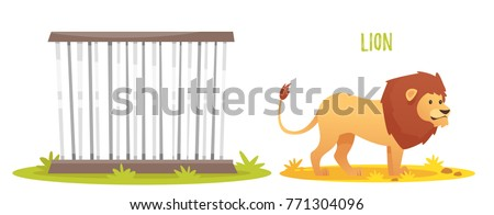 Vector cartoon style illustration of wild lion. Zoo cage. isolated on white background.