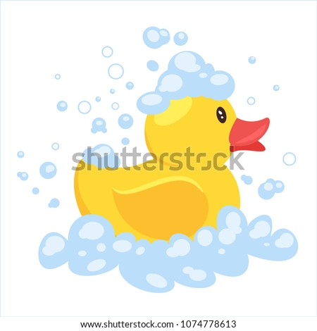 Vector cartoon style illustration of yellow rubber duck in soap foam, isolated on white background.
