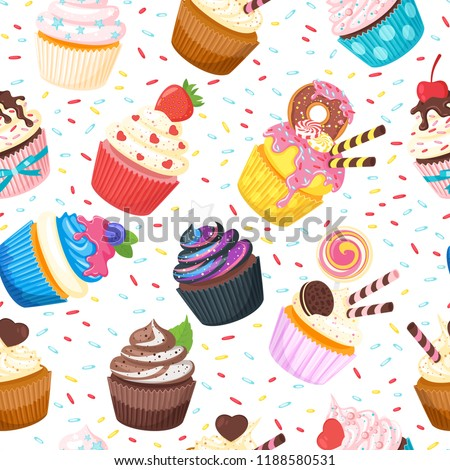 Vector cartoon style seamless pattern with sweet cupcake. Yummy dessert decorated with doughnut, candies and pink icing on white background.