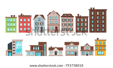 Vector  cartoon style set of city buildings and townhouse apartment exterior